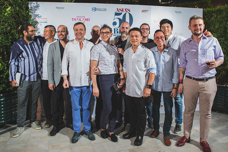 Thailand chefs and restauranteurs at Asia's 50 Best Restaurants awards ceremony, sponsored by S.Pellegrino & Acqua Panna